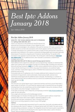 Best Iptv Addons January 2018