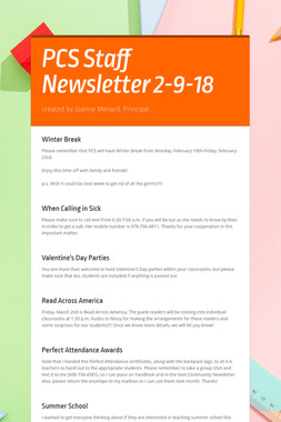 PCS Staff Newsletter 2-9-18