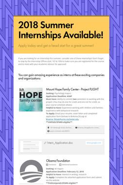 2018 Summer Internships Available!