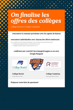 On finalise les offres des collèges