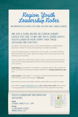 Region Youth Leadership Roles