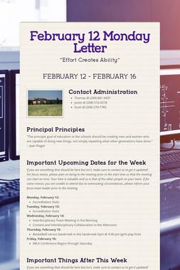 February 12 Monday Letter