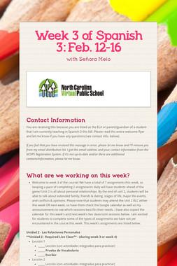 Week 3 of Spanish 3:  Feb. 12-16