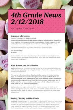 4th Grade News 2/12/2018