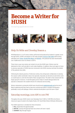 Become a Writer for HUSH