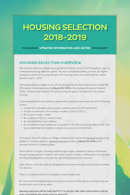 Housing Selection 2018-2019