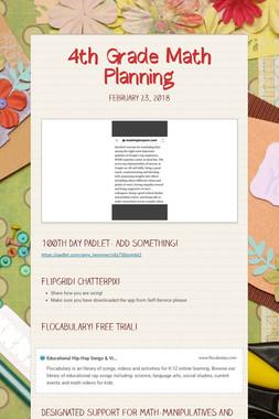 4th Grade Math Planning