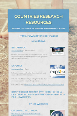 Countries Research Resources