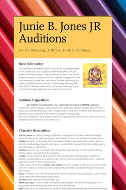 Junie B. Jones JR Auditions