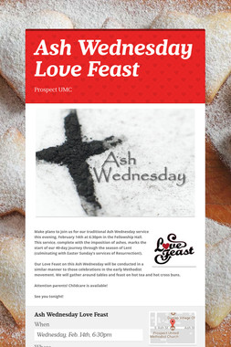 Ash Wednesday Love Feast