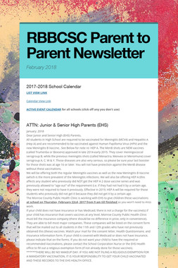 RBBCSC Parent to Parent Newsletter