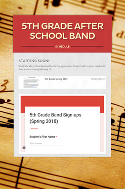 5th Grade After School Band