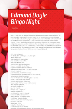 Edmond Doyle Bingo Night