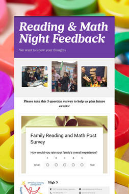 Reading & Math Night Feedback