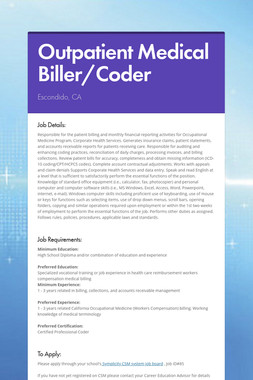 Outpatient Medical Biller/Coder
