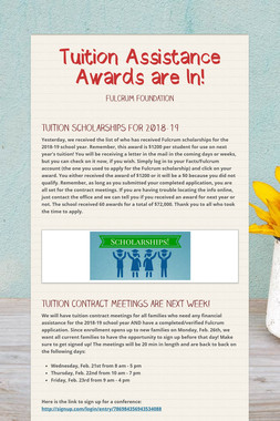 Tuition Assistance Awards are In!