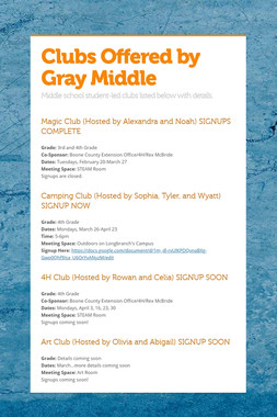 Clubs Offered by Gray Middle