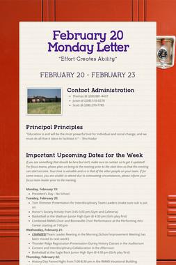 February 20 Monday Letter