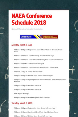 NAEA Conference Schedule 2018