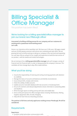 Billing Specialist & Office Manager