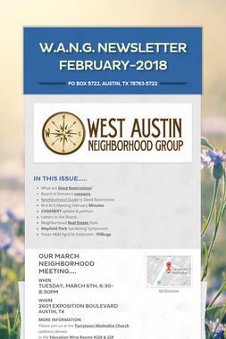 W.A.N.G. Newsletter February-2018