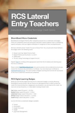 RCS Lateral Entry Teachers