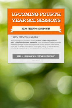Upcoming Fourth Year Sci. Sessions