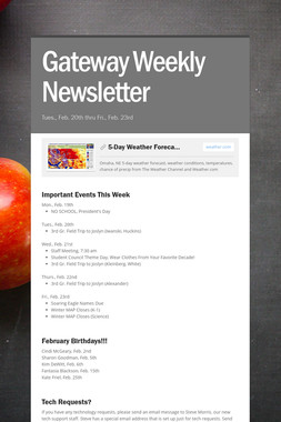 Gateway Weekly Newsletter