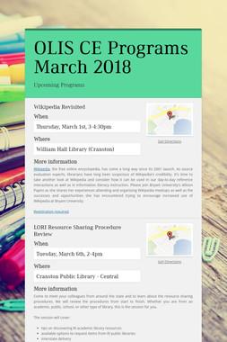 OLIS CE Programs March 2018