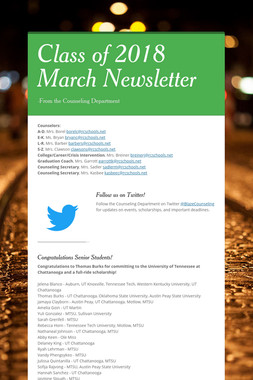 Class of 2018 March Newsletter