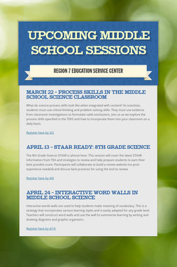 Upcoming Middle School Sessions