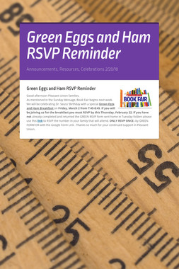 Green Eggs and Ham RSVP Reminder