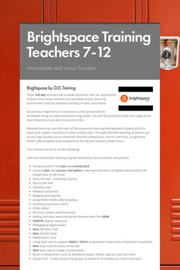 Brightspace Training Teachers 7-12