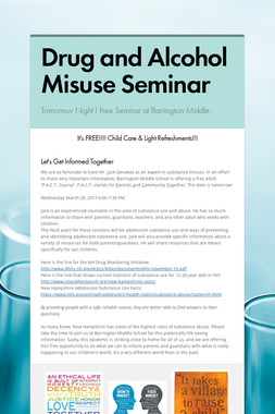 Drug and Alcohol Misuse Seminar
