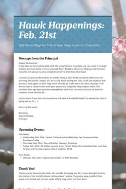Hawk Happenings: Feb. 21st