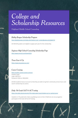 College and Scholarship Resources