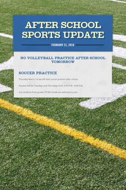 After School Sports Update
