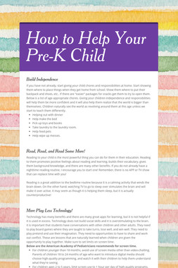 How to Help Your Pre-K Child