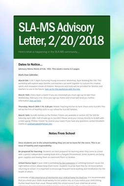 SLA-MS Advisory Letter, 2/20/2018