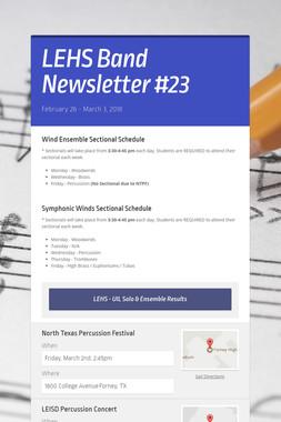 LEHS Band Newsletter #23
