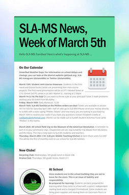 SLA-MS News, Week of March 5th