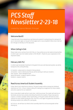 PCS Staff Newsletter 2-23-18