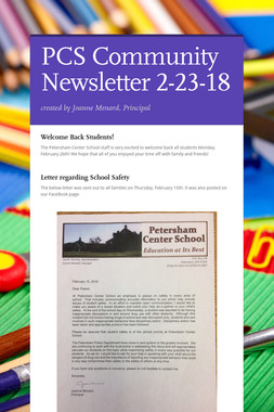 PCS Community Newsletter 2-23-18