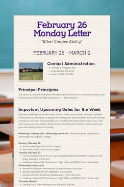 February 26 Monday Letter
