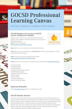 GOCSD Professional Learning Canvas