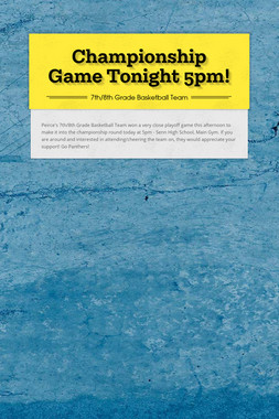 Championship Game Tonight 5pm!