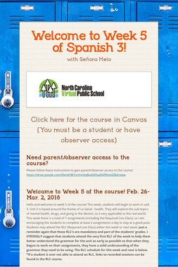 Welcome to Week 5 of Spanish 3!