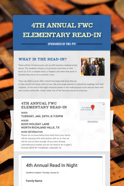 3rd Annual FWC Elementary Read-In