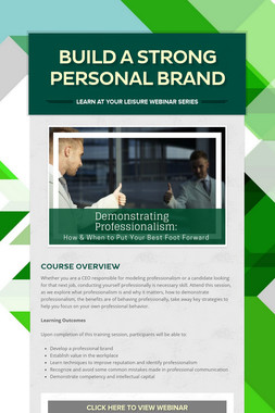 Build a Strong Personal Brand