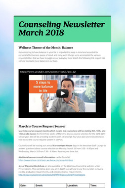 Counseling Newsletter March 2018